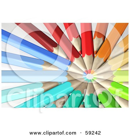 Royalty-Free (RF) Clipart Illustration of a Circle Formed By Colorful Pencils With Their Tips In The Center by Frog974