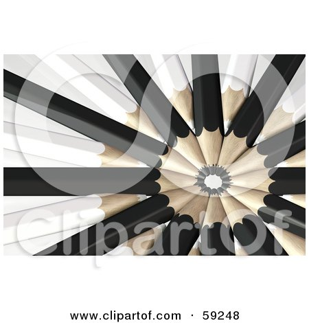 Royalty-Free (RF) Clipart Illustration of a Circle Formed By Black And White Colored Pencils With Their Tips In The Center by Frog974
