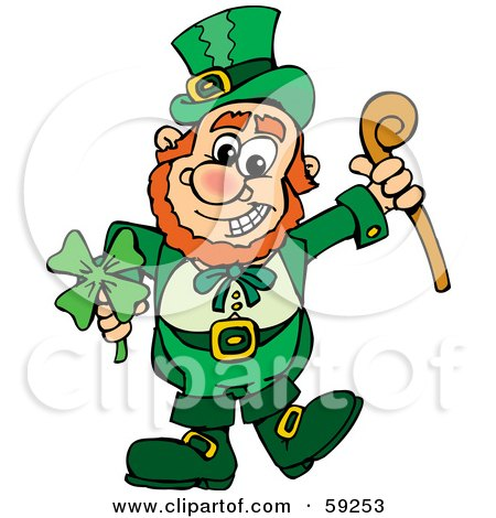 Royalty-Free (RF) Clipart Illustration of a St Patricks Day Leprechaun Holding A Clover And Cane by Dennis Holmes Designs