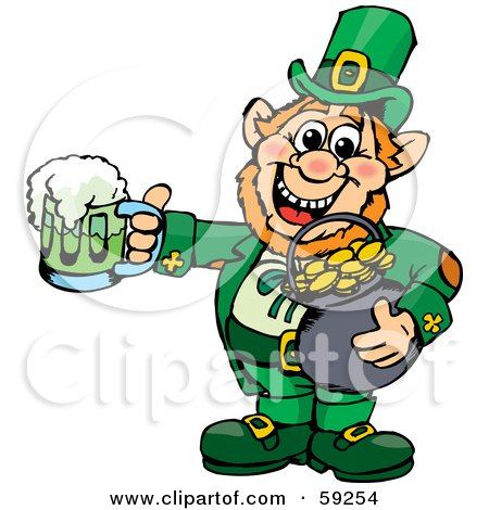 Royalty-Free (RF) Clipart Illustration of a St Patricks Day Leprechaun Holding A Pot Of Gold And Green Beer by Dennis Holmes Designs