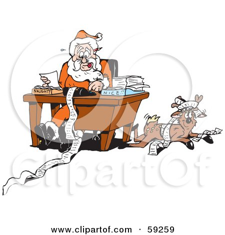 Royalty-Free (RF) Clipart Illustration of a Reindeer Resting Beside Santa As He Organizes His Naughty And Nice Lists by Dennis Holmes Designs