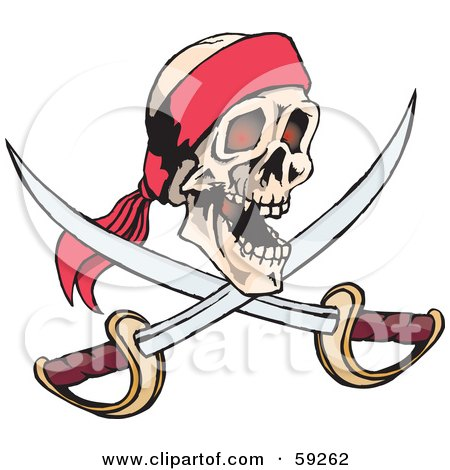 Royalty-Free (RF) Clipart Illustration of a Human Pirate Skull With Crossed Swords by Dennis Holmes Designs