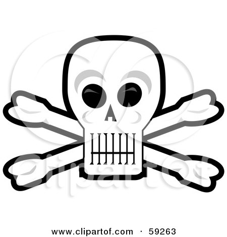 Royalty-Free (RF) Clipart Illustration of a Human Skull And Crossbones With Black Eye Sockets by Dennis Holmes Designs