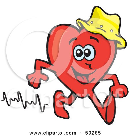 Royalty-Free (RF) Clipart Illustration of a Red Heart Wearing A Hat And Walking by Dennis Holmes Designs