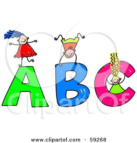 Royalty-Free (RF) Clipart Illustration of a Stick Children Playing On Giant ABC Letters by Prawny