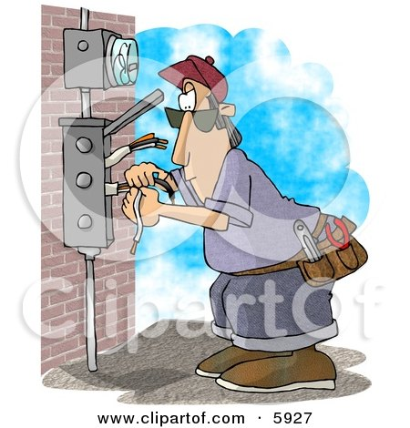 Clipart Of A Cartoon Caucasian Electrician Man Standing On