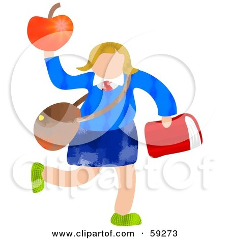 Royalty-Free (RF) Clipart Illustration of a School Girl Carrying Bags And An Apple by Prawny