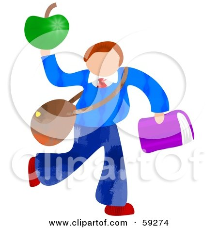 Royalty-Free (RF) Clipart Illustration of a School Boy Carrying Bags And An Apple by Prawny