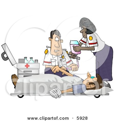 Emergency Medical Technicians EMTs Treating A Patient Clipart Picture