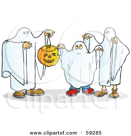 Royalty-Free (RF) Clipart Illustration of a Group Of Halloween Ghosts With A Pumpkin by Snowy