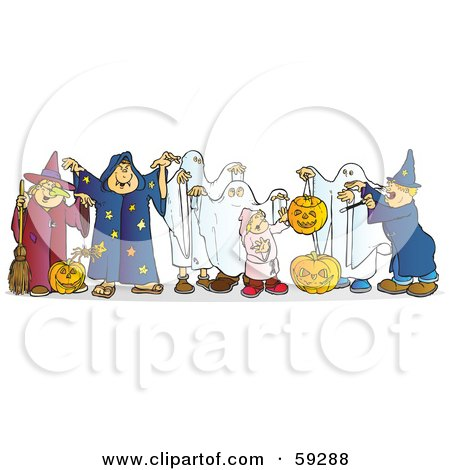 Royalty-Free (RF) Clipart Illustration of a Group Of Halloween Children In Witch, Wizard And Ghost Costumes by Snowy