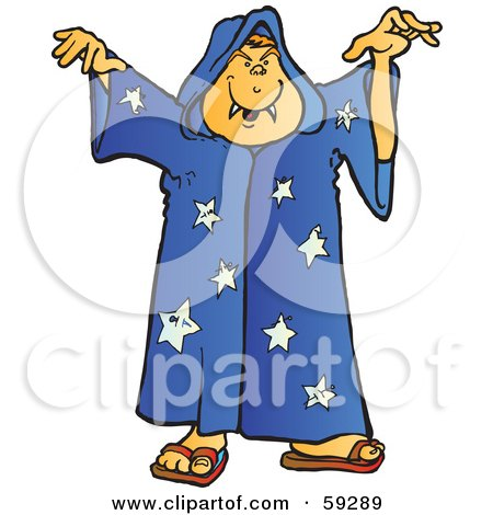 Royalty-Free (RF) Clipart Illustration of a Halloween Wizard With Fangs, Holding His Arms Up by Snowy