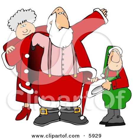 mrs santa claus clip art. Mrs. Clause & an Elf Helping Santa Get Dressed for Christmas Clipart Picture