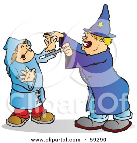 Royalty-Free (RF) Clipart Illustration of a Halloween Wizard Playing A Trick On A Kid by Snowy