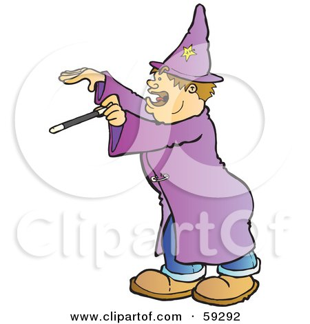 Royalty-Free (RF) Clipart Illustration of a Halloween Wizard Holding A Wand by Snowy