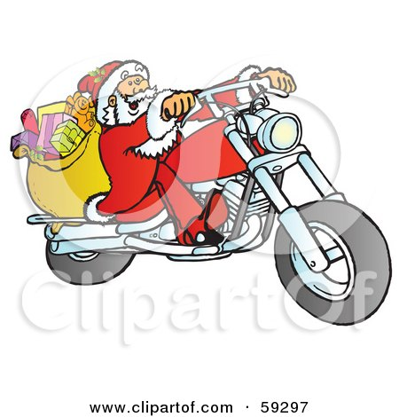 Royalty-Free (RF) Clipart Illustration of a Santa With His Toy Sack, Riding A Chopper Motorcycle by Snowy