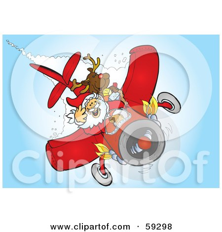 Royalty-Free (RF) Clipart Illustration of Santa And Rudolph Flying A Plane by Snowy