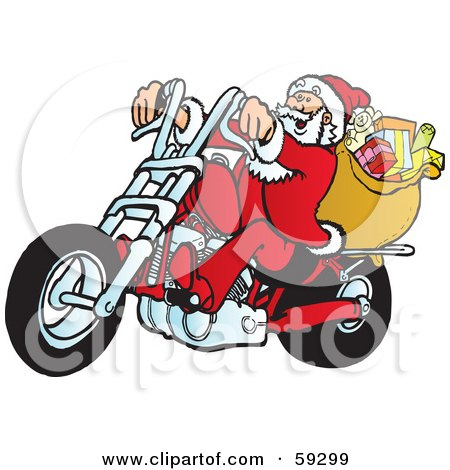 Royalty-Free (RF) Clipart Illustration of Santa With His Toy Sack, Riding A Motorcycle by Snowy