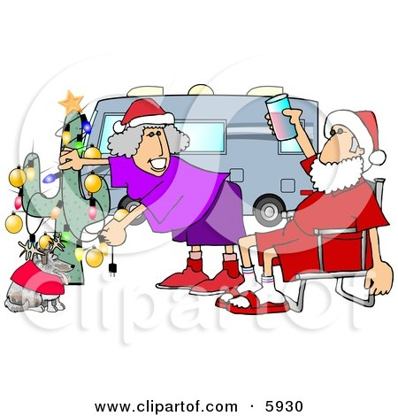 Mr. and Mrs. Clause Celebrating Christmas on the Road With Their Dog Clipart Picture by djart