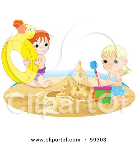 Royalty-Free (RF) Clipart Illustration of a Brother And Sister Playing With An Inner Tube And Making A Sand Castle On A Beach by Pushkin