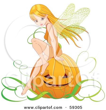 Royalty-Free (RF) Clipart Illustration of a Pretty Autumn Fairy Sitting On A Halloween Pumpkin by Pushkin