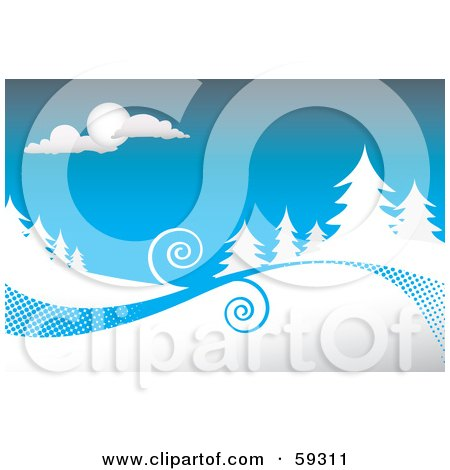 Royalty-Free (RF) Clipart Illustration of a Winter Background With Swirls Between Evergreens Flocked In Snow Under A Blue Sky by Arena Creative