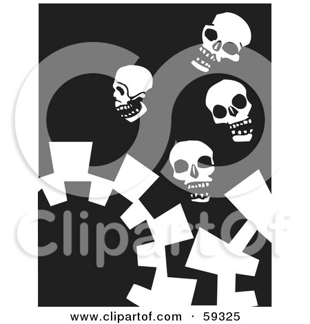 Royalty-Free (RF) Clipart Illustration of White Skulls And Gears On Black by xunantunich