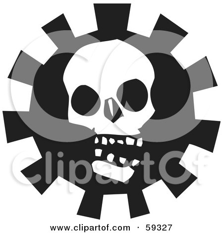 Royalty-Free (RF) Clipart Illustration of a Creepy White Skull Over A Gear - Version 2 by xunantunich