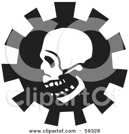 Royalty-Free (RF) Clipart Illustration of a Creepy White Skull Over A Gear - Version 1 by xunantunich