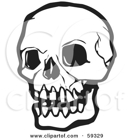 Royalty-Free (RF) Clipart Illustration of a White Human Skull With Dark Eye Sockets by xunantunich
