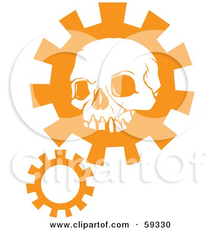 Royalty-Free (RF) Clipart Illustration of an Orange Human Skull Head Over A Gear by xunantunich