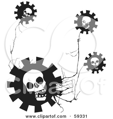 Royalty-Free (RF) Clipart Illustration of a Skull Gear Flowers On A Creepy Plant by xunantunich