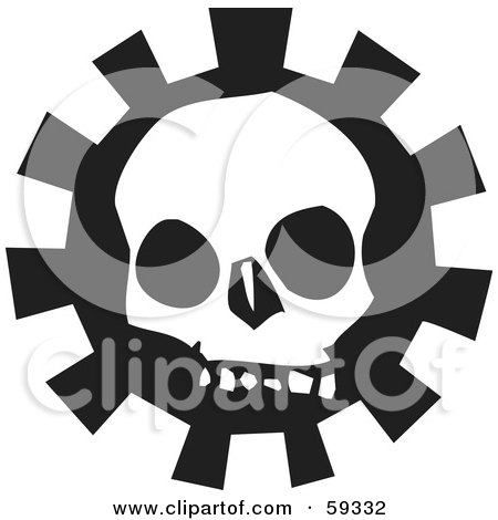 Royalty-Free (RF) Clipart Illustration of a Creepy White Skull Over A Gear - Version 3 by xunantunich