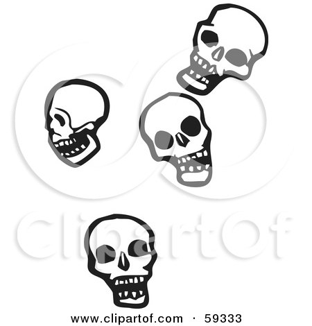 Royalty-Free (RF) Clipart Illustration of Four Falling Human Skulls by xunantunich