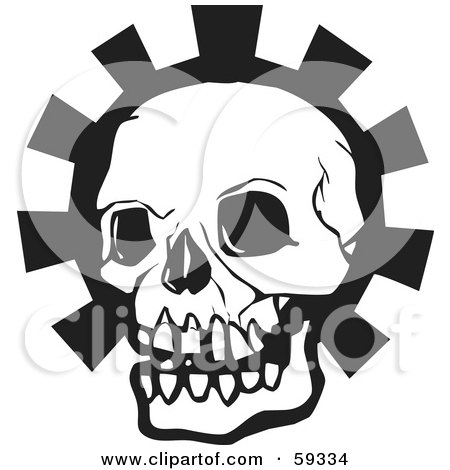 Royalty-Free (RF) Clipart Illustration of a Black Human Skull Head Over A Gear by xunantunich