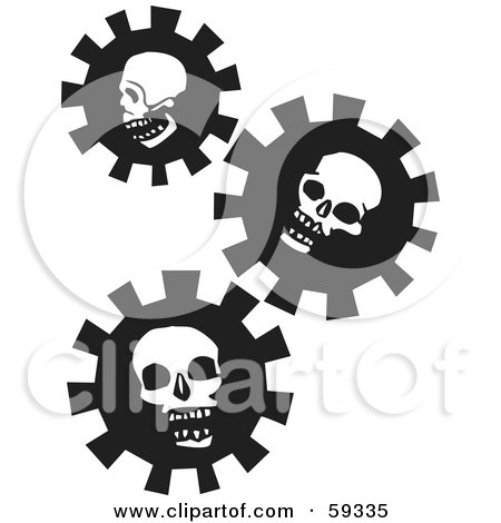 Royalty-Free (RF) Clipart Illustration of Three Black And White Skull Gears by xunantunich
