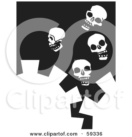 Royalty-Free (RF) Clipart Illustration of White Cogs And Four Skulls On Black by xunantunich