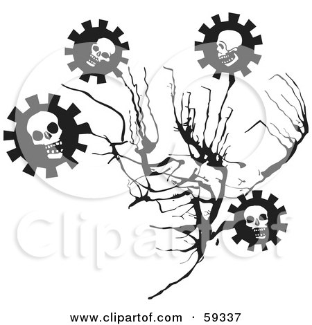 Royalty-Free (RF) Clipart Illustration of a Branch With Evil Skull Cog Flowers by xunantunich