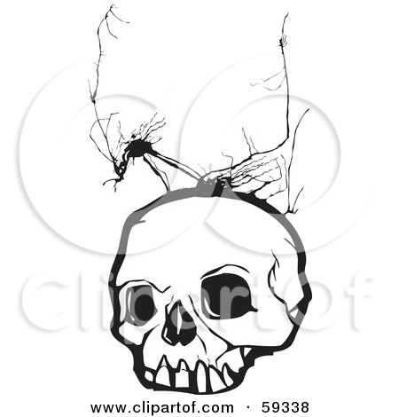 Royalty-Free (RF) Clipart Illustration of a Human Skull With Crack Marks by xunantunich