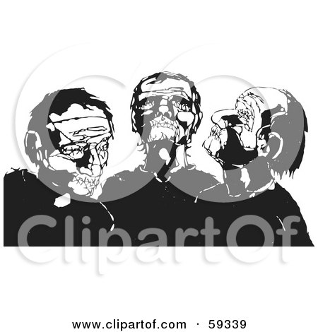 Three Black Aned White Zombies Posters, Art Prints