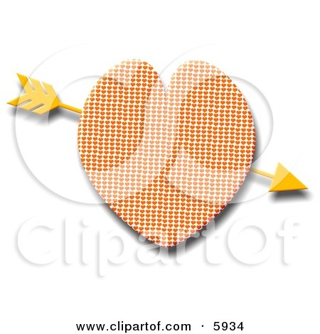 Gold Arrow Through Heart Clipart Picture by djart