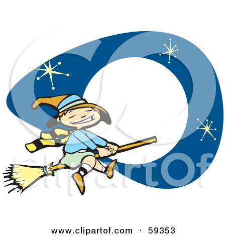 Royalty-Free (RF) Clipart Illustration of a Cute Halloween Witch Flying In Front Of Stars And A Full Moon by xunantunich