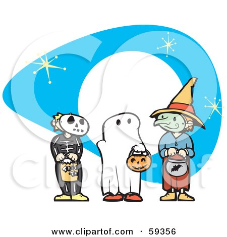 Royalty-Free (RF) Clipart Illustration of Halloween Children In Skeleton, Ghost And Witch Costumes, Trick Or Treating  by xunantunich