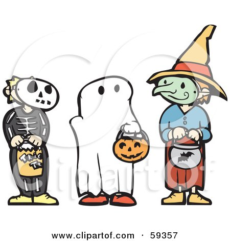 Royalty-Free (RF) Clipart Illustration of Trick Or Treating Halloween Children In Skeleton, Ghost And Witch Costumes by xunantunich