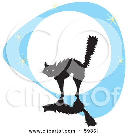 Royalty-Free (RF) Clipart Illustration of a Frightened Cat Arching Its Back Against A Full Moon by xunantunich