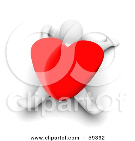 Royalty-Free (RF) Clipart Illustration of a 3d Blanco Man Character Crushed Under A Giant Red Heart by Jiri Moucka