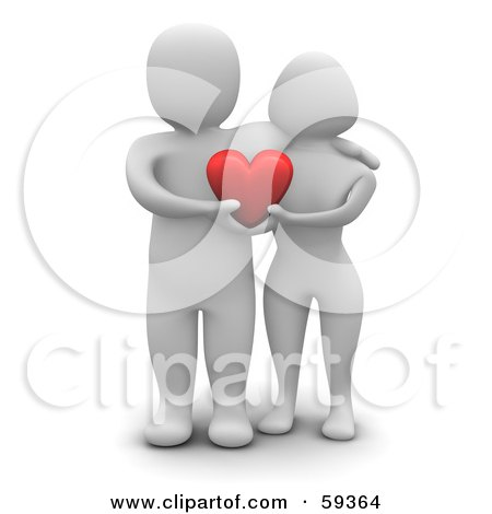 Royalty-Free (RF) Clipart Illustration of a 3d Blanco Man Character Couple Standing Together And Holding A Heart by Jiri Moucka