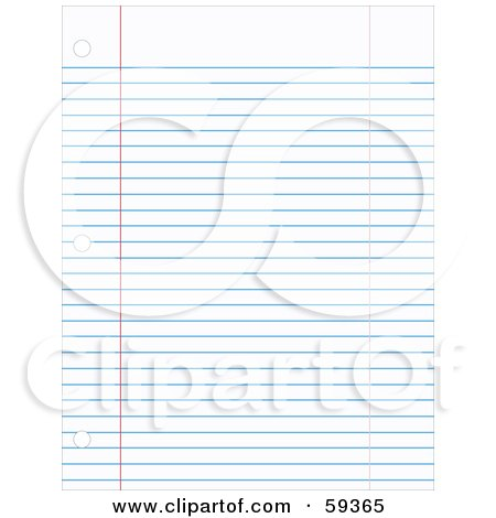 Royalty-Free (RF) Clipart Illustration of a Flat Sheet Of Blue Ruled School Paper by JR