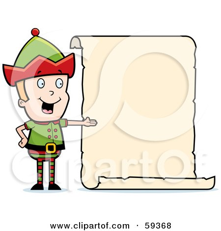 Royalty-Free (RF) Clipart Illustration of a Male Christmas Elf Presenting A Blank List by Cory Thoman