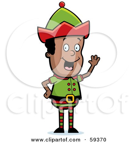 Royalty-Free (RF) Clipart Illustration of a Male Christmas Elf Smiling And Waving by Cory Thoman
